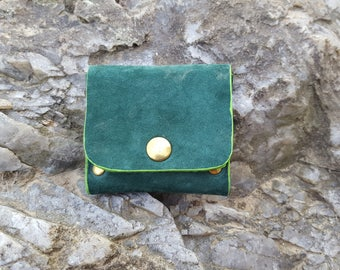 Forest green suede leather wallet