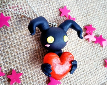 Pendant inspired, Heartless, Kingdom Hearts, Polymer clay
