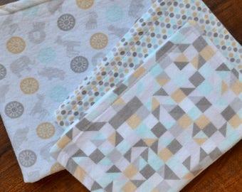 Safari Lovey Gift Set: Security Blanket, burp cloth set, baby gift, baby shower gift, baby girl gift, baby boy gift, safari baby gift