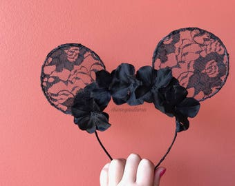 Black floral lace Mickey ears