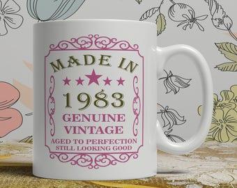 35th Birthday mug, 1983 Birthday mug, 35th Birthday Gift idea, 35th Birthday Idea, 35 mug,born 1983, Happy Birthday, coffee mug EB 1983 Rose