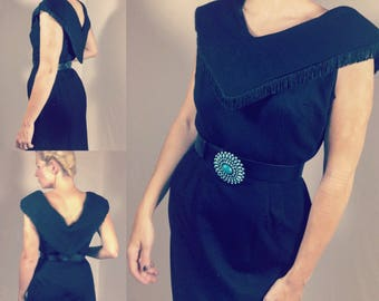 Vintage Black Fringe Collar Wiggle Dress