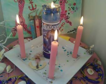 Maferefun Yemaya candle, affirmation candle, blessed Candle, dressed candle, fixed candle, 7 day Candle, Orisha candle