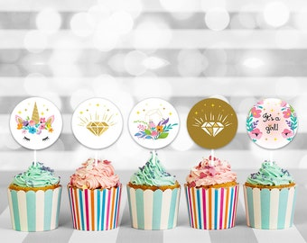Unicorn Baby Girl Shower Cupcake Toppers, baby shower cupcake, baby cupcake topper, cupcake toppers, cupcake decorations, printable toppers