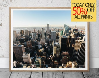New York Print, Color Photography, New York City Skyline Photo, Empire State Building, City Scape, New York Skyline, Urban, City Skyline
