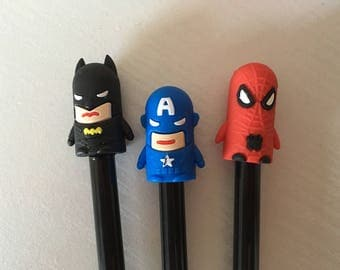 Super hero pen, Spider-Man pen, batman pen, captain America pen