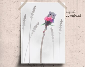 Field Mouse Drawing, Mouse Face Printable, Tiny Mouse Woodland Nursery Art, Cute Little Mouse on Pink Flower Nursery Artwork Harvest Mouse