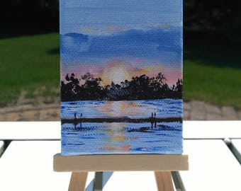 Mini Canvas Painting, Miniature Canvas Painting, Mini Canvas Art, Miniature Canvas Art, Sunset Painting Water Painting