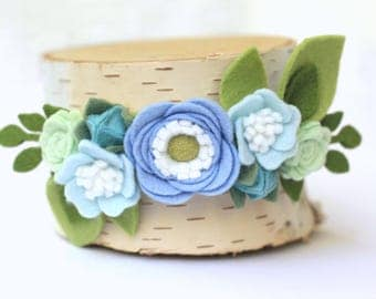 Flower Crown, Felt Flower Crown, Baby Headband, Felt Flower Crown Headband, First Birthday Headband, Baby Shower Gift, Girl headband