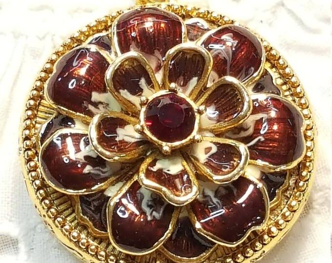 Joan Rivers Vintage Language of Flowers Necklace Locket Charms Victorian Enamel