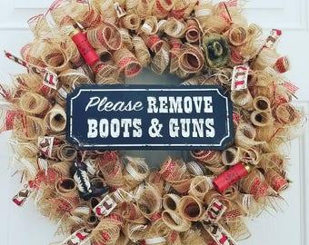 Boots and guns wreath