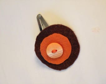 Barrette for little girl in orange/brown tone