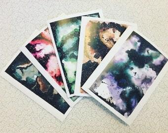 Watercolor Galaxy Cards Random Assortment of 5
