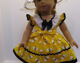 """American Girl Doll & Other 18"""" Doll Dress in Yellow"""