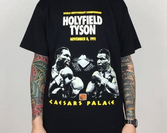 Rare Vintage 90s 1991 91 Mike Tyson vs Evander Holyfield Ceasars Palace single stitch boxing graphic tee t-shirt shirt - Size L-XL