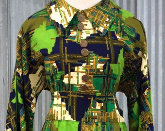 Incredible dress 1970's -psychedelic pattern -eccentric vintage dress
