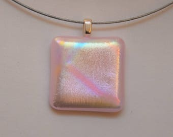 Set in pink and Dichroic fused glass Pearlescent