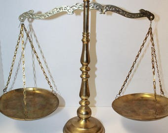 Vintage Brass Scales Of Justice, Brass Scales