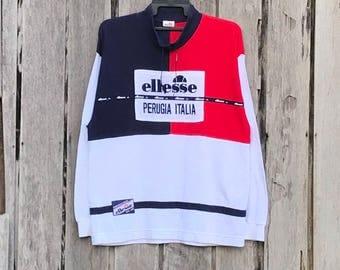 Rare!!! ellesse multicolour spell out perugia italia big logo sweatshirt jumper
