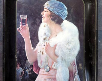 Coca Cola Flapper Girl Serving Tray 1973 from 1925 Advertisement