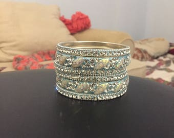 Blue and Silver Bangles