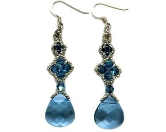 Swarovski Beaded Drop Earrings - Aqua