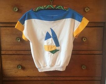 Vintage 70's sailor navy t-shirt mod S