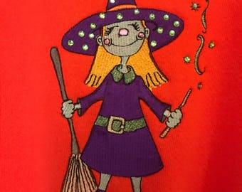 Embroidered Witch Sweatshirt.