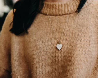 Druzy Heart Necklace- White Druzy- Gold Heart Necklace - Gemstone necklace- White gemstone- Valentine's Day - Bridesmaid Gift