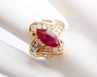 Ruby Ring, Gold Ring, Vintage Ring, Ruby And Diamond, 10k Yellow Gold 1.75 CTW Marquise Shaped Ruby And Round Diamond Ring #4009