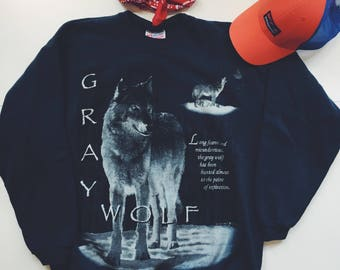 Vintage wolf sweatshirt | 90s