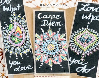 Laminated bookmarks, handmade bookmarks, set of 3, Dotilism style, meaning, gifts, gift, paper cover, meditation, affirmation