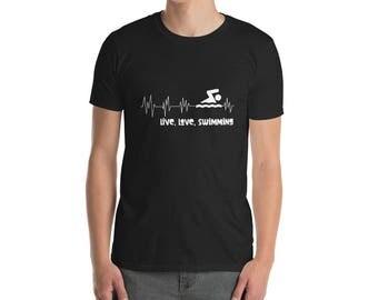 Swimming Heartbeat T-Shirt - Swimmer t-shirt - Swimming shirt - Swimming tee