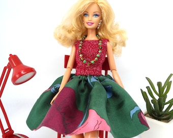 Barbie Outfit, Barbie Fashion Dresses, Barbie Clothing and Accessories, Fashion Doll Dresses Set, Skirt and Top for Barbie.