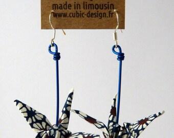 Blue wheel crane origami earrings