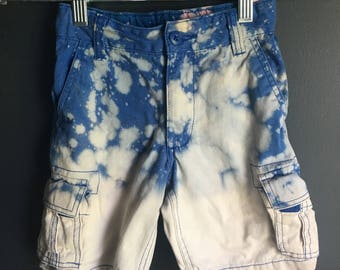 4 year boy shorts, blue + white splatter dipped dyed