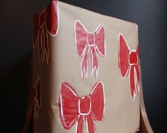 3 sheets of Hand Painted Christmas Red Bow Wrapping Paper