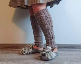 Women knit winter leg Warmers legging boot Women's Warm Wool Gray-brown colored Leg Warmers Gaiters Winter gift