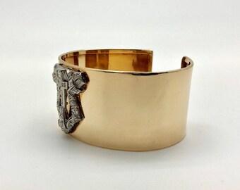Estate Art Deco 14K Gold Platinum 1.00 CTW Diamond Bangle Cuff Bracelet 71 Grams