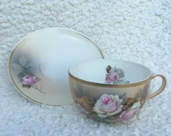 VIntage PSAG Bavaria Roses tea cup and saucer # 61