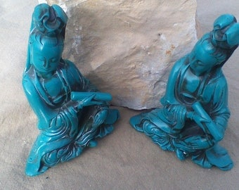 Kwan Yin Turquoise Statue 5 inches Tall Resin