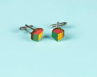 WOODEN CUFFLINKS for men, laser cut: RUBIK's Cube