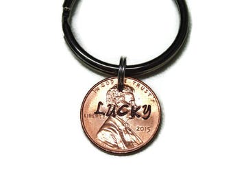 Lottery Ticket Scratcher Keychain; Lucky Lottery Ticket Scratcher; Lucky Penny Keychain; Lucky Hand Stamped Penny Keychain; Lucky Keychain