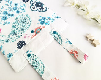 Floral fabric pouch to hang on the couch