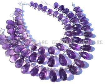 Amethyst (African) Faceted Drops Semiprecious Stone, Quality A, 6x9.50 to 6.50x12.50 mm, 18 cm, 23 Pieces, AMET-059/1, Craft Supplies