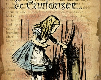 Alice In Wonderland Curiouser & Curiouser Retro Style Wall Metal Sign Plaque Home Decor Lovely Gift