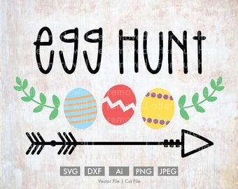 Egg Hunt Easter Eggs - Cut File/Vector, Silhouette, Cricut, SVG, PNG, Clip Art, Download, Holidays, Arrows, Spring, Rabbit, Calligraphy