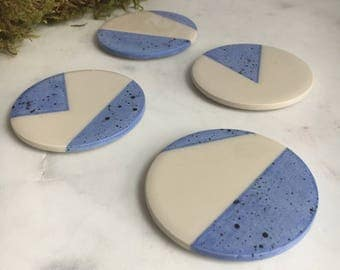 Blue Splatter Geometric Coasters