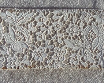 Vintage ivory lace covered clutch purse