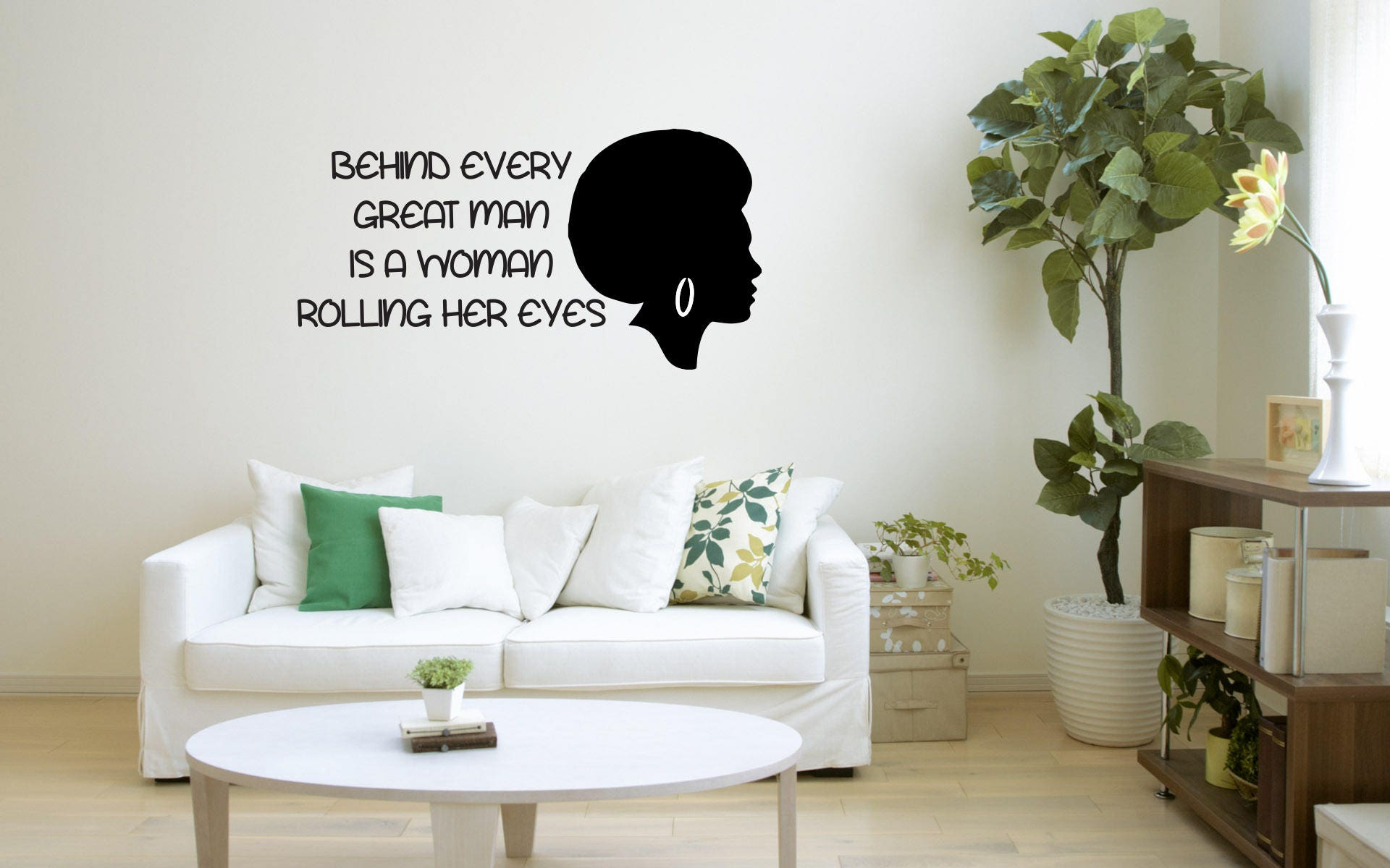 Quote Wall Decal, Rolling Her Eyes, Removable Wall Decal, Motivation ...